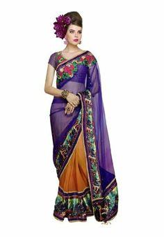 #Indian #Wear #Purple & #Orange #Embroidered #Saree #Fabdealdotcom, http://www.amazon.co.uk/dp/B00HGEVJL2/ref=cm_sw_r_pi_dp_2Dprtb1610EM5