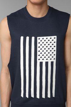 BDG American Flag Sleeveless Crewneck Sweatshirt