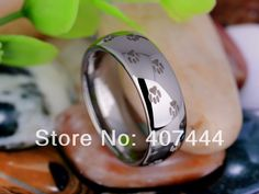 Free Shipping USA UK Canada Russia Brazil Hot Sales 8MM Silver Dome Pet's Paw Prints Men's Lord Tungsten Carbide Wedding Ring