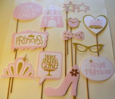 Pink and Gold Princess Party Photo Booth Pieces by ItsTwinkleTime on Etsy Más Pink Princess Party, Baby Shower Princess, Princess Birthday, Princess Sophia, Princess Photo, 1st Birthday Girls, First Birthday Parties, First Birthdays, Birthday Ideas