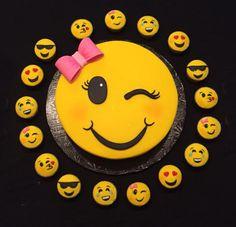 emoji wink cake with emoji cupcakes