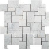 Honed Marble Mosaic in Bianco Gioia