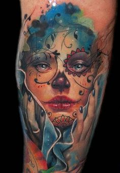 Sugar skull art tattoo; love Halloween (Day of the Dead).  Therefore, I am totally drawn to these pictures.  And now that I am in El Paso, I see them all of the time!