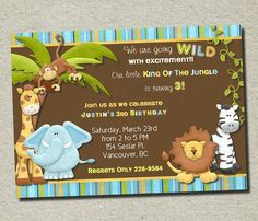 Jungle Birthday Invitation  DIY  You Print by ForeverYourPrints, $12.00