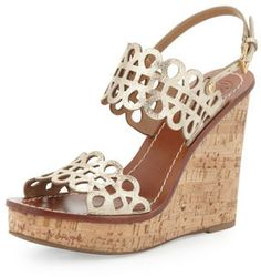 b723905b70 Tory Burch Nori Laser-Cut Wedge Sandal, Platinum on shopstyle.com Cute  Wedges