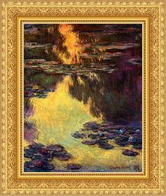 """Oeuvre """"Nymphéa"""" de Claude Monet Encadré par www.leboncadre.com avec un magnifique encadrement doré à la feuille."""