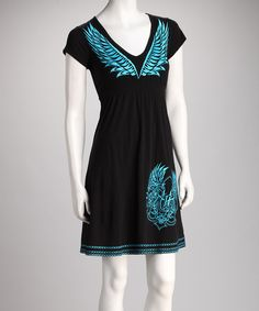 Black & Blue V-Neck Dress - Women