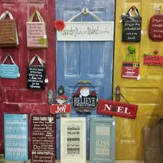 How about using old wooden doors? Courtesy of Taloolah Belle Creations. Nice!