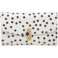Dolce & Gabbana Women Dolce Polka Dot Dauphine Leather Clutch (€1.415) ❤ liked on Polyvore featuring bags, handbags, clutches, white, white handbags, leather clutches, real leather purses, leather purses and white clutches
