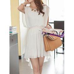 Ladylike Scoop Collar Solid Color Pleated High-low Hem Chiffon Women's Dress