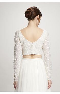 """Ruby"" Top by Theia (back) Theia Bridal, Two Piece Wedding Dress, British Wedding, Bridal Separates, Beaded Top, Bride Look, Bridal Collection, Wedding Gowns, Lace"