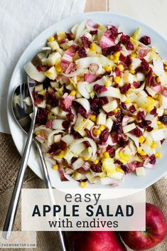 This easy apple salad recipe is a crowd pleaser! Make this salad recipe with fresh apples. A colorful salad that is perfect for a party. Easy Apple Salad Recipe, Apple Salad Recipes, Breakfast For A Crowd, Egg Recipes For Breakfast, Breakfast Ideas, Easy Brunch Recipes, Healthy Recipes, Brunch Ideas, Cooking Recipes