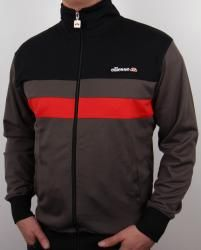 Ellesse Trasimeno Track Top in Grey/Black/Red Track Pants Mens, Track Suit Men, Mens Outdoor Jackets, Adidas Retro, Football Casuals, Tracksuit Jacket, Ellesse, Gym Wear, Mens Suits