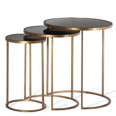 Table , Side & Accent Table_Porta Romana - Nest of Tables - French Brass with Black Top Metal Decor, Furniture, Brass Side Table, Metal Cocktail Table, Side Table, Table, Side Table Design, Coffee Table, Marble Side Tables