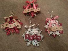 Christmas scrabble snowflake ornaments
