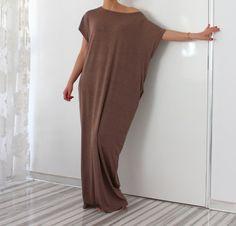 Mocha Caftan Maxi Dress Plus size dress by cherryblossomsdress