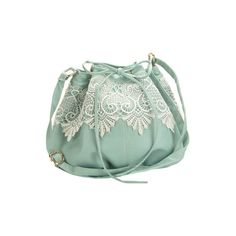 Lace Detailed Light Green Bag ($74) ❤ liked on Polyvore featuring bags, handbags, shoulder bags, purses, accessories, bolsas, drawstring purse, lace purse, handbags shoulder bags and handbags purses