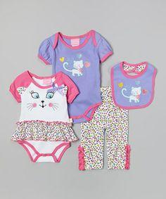 Look what I found on #zulily! White & Pink 'Wild Kitty' Bodysuit Set by Duck Duck Goose #zulilyfinds