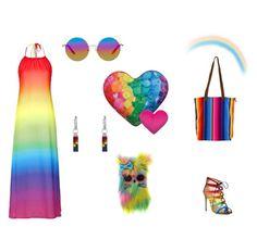 """The Rainbow"" by destiny-demon on Polyvore featuring Topshop, Salvatore Ferragamo, Matthew Williamson, Iscream, women's clothing, women's fashion, women, female, woman and misses"