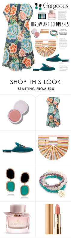 """""""Easy Outfitting: Throw-and-Go Dress"""" by ellie366 ❤ liked on Polyvore featuring Mara Hoffman, Gucci, Cult Gaia, Roberto Coin, Good Charma, Burberry, Axiology, Bobbi Brown Cosmetics, mules and floraldress"""