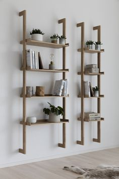 Regal Braun ladder rack, wall shelf - Decoration For Home Diy Bedroom Decor, Living Room Decor, Diy Home Decor, Scandinavian Bookshelves, Scandinavian Style, Bookshelves In Living Room, Wooden Shelves, Wood Shelf, Shelf Wall