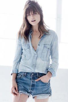 relaxed denim-on-denim look // chambray shirt & jean cut-offs #style #fashion #summer