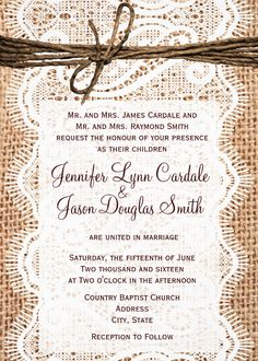 Rustic Country Burlap and Lace Printed Wedding Invitation.  Discount Sale Prices. These country wedding invitations are two sided on your choice of paper.  Easy to edit template.  Just add your own wedding invitation wording.  #wedding http://www.zazzle.com/rustic_country_burlap_lace_twine_wedding_invites_invitation-161840289250632271?rf=238133515809110851&tc=PinterestAd