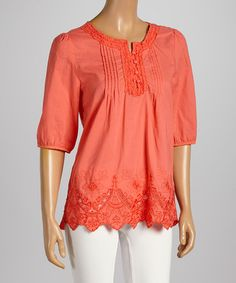 Another great find on #zulily! Coral Scalloped Notch Neck Top by High Secret #zulilyfinds