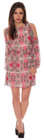 Alison Pink Aztec Chiffon Style Cut Out Cold Shoulder Belted Shift Dress