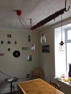 More Kilner Jar Lights! Sent in from Simon K. Kilner Jars, Jar Lights, Jar Crafts, Track Lighting, Craft Ideas, Ceiling Lights, Make It Yourself, Cake, Kitchen