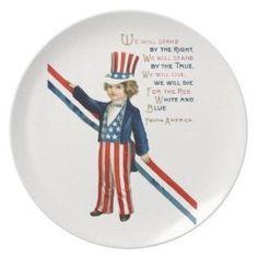 "Retro 4th July independence day Plates (<em data-recalc-dims=""1"">$27.95</em>)"
