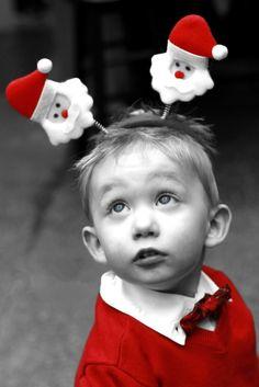 2013 Christmas kids photo, Santa headwere boys picture of Christmas