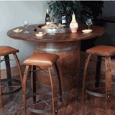 Barrel table and chairs