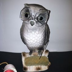 Cute Vintage Owl Pin Cushion & Scissor Holder. Photo via Ebay