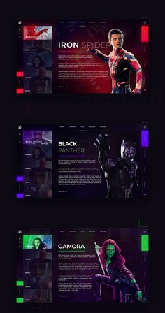 Infinity War - Web Site Concept Design on Behance Ui Ux Design, Game Design, User Interface Design, Website Design Layout, Web Layout, Layout Design, Design Fonte, Ui Web, Website Design Inspiration