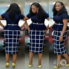 Checked midi skirt and peplum top with belt and buckle. Short African Dresses, Latest African Fashion Dresses, African Print Dresses, African Print Fashion, Women's Fashion Dresses, Office Dresses For Women, Office Outfits Women, Women Church Suits, Classy Work Outfits