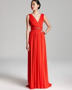 Badgley Mischka Gown - Sleeveless V-Neck Belted  Bloomingdale's