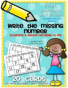 Math Center & Station Activity (Print, Laminate & Write} Kindergarten Common Core. 20 cards included.