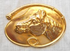 1 large raw brass stamping a horse's head by GloriousGlassBeads