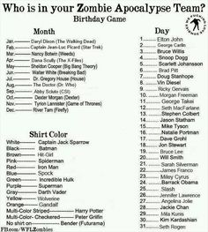 Who is in your Zombie Apocalypse Team? Mine is Abby Sciuto from CSI, Jason Statham, and Captain Jack Sparrow :) But I was really hoping for Daryl Dixon!,,,,,OOHHH,,,I GOT Captain Picard from Star Trek,Anjolina Jolie,and the Hulk..