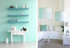 Mint green living room wall color gives your a magical flair walls ideas accessories Feature Wall Bedroom, Bedroom Wall, Bedroom Decor, Bedroom Mint, Bedroom Ideas, Wall Decor, Green Wall Color, Mint Green Walls, Colorful Kitchen Decor
