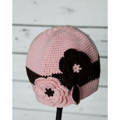 PINK WITH BROWN FLOWER CROCHET BABY HAT