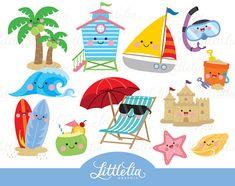 Playa kawaii clipart verano Playa Linda imágenes