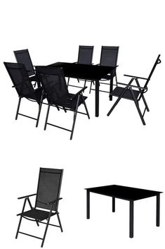 Patio Metal Dining Set Black Outdoor Furniture Table 6 Recliner Folding Chairs