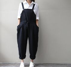 women cotton linen Overalls by chaxuan on Etsy