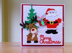 Christmas Card, Handmade - Marianne Santa & reindeer dies. For more of my cards please visit CraftyCardStudio on Etsy.com.