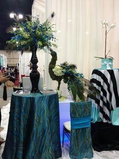 Pretty table cloths n peacock