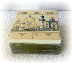 Beautiful wooden box painted with acrylic paints, decoupaged with paper napkin,sides painted with olive green and then I used dry brush method