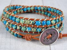 Triple Wrap Bracelet For Women - Ocean Jasper and  Leather Wrap Bracelet - Gemstone Bracelet - Gift for Her by NimbleKnots Studio