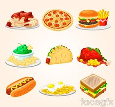 9 delicious fast food vector
